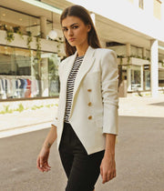 Kenzie Fitted Blazer in Ivory White