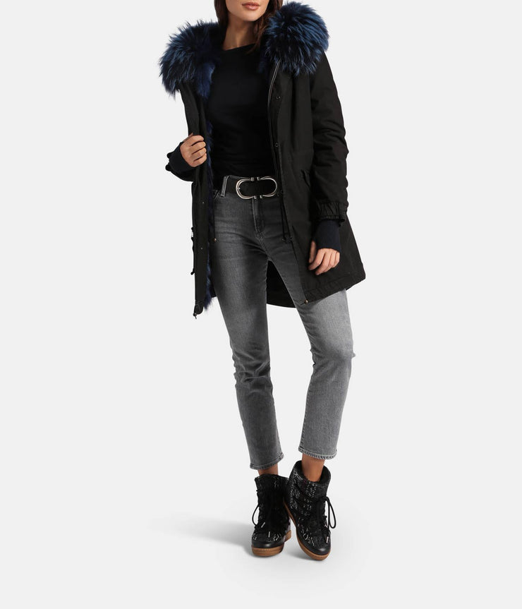 Black Groenlandia Midi Parka with Navy Blue Fur Detail