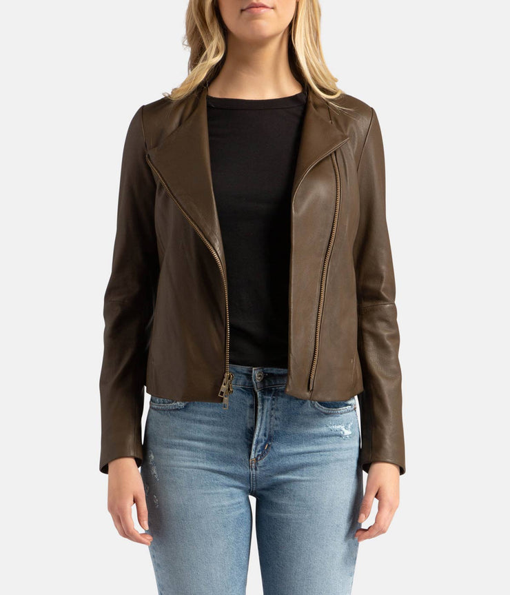 Leather Cross Front Olive Wood Jacket