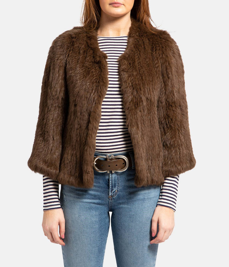 Knitted Fur Jacket in Oil Dark Brown