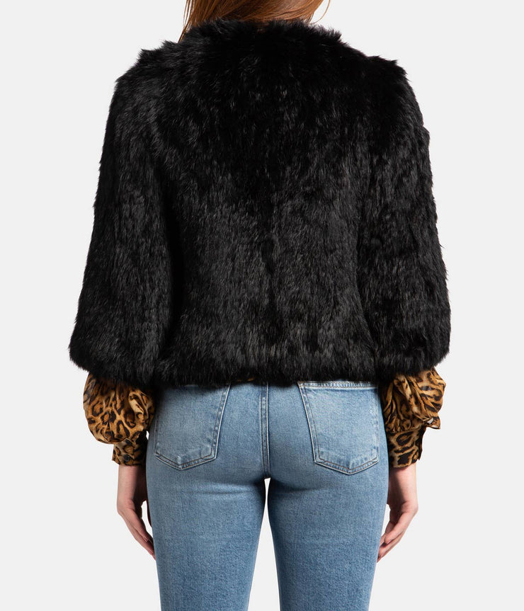 Knitted Fur Jacket in Black