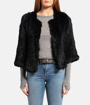 Knitted Fur Jacket in Comete Dark Navy