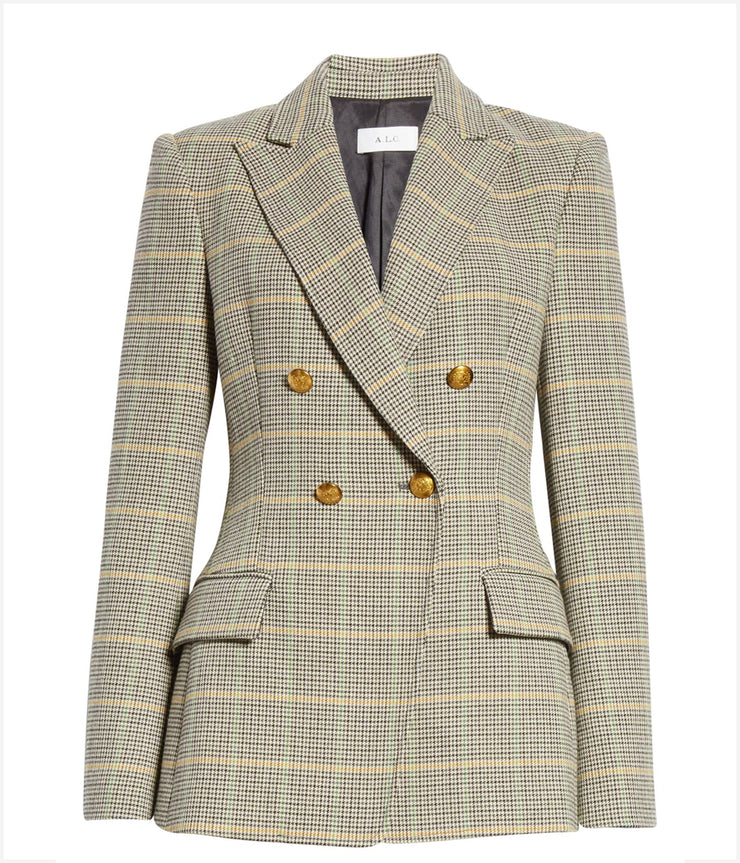 Sedgwick Double Breasted Gold Houndstooth Blazer