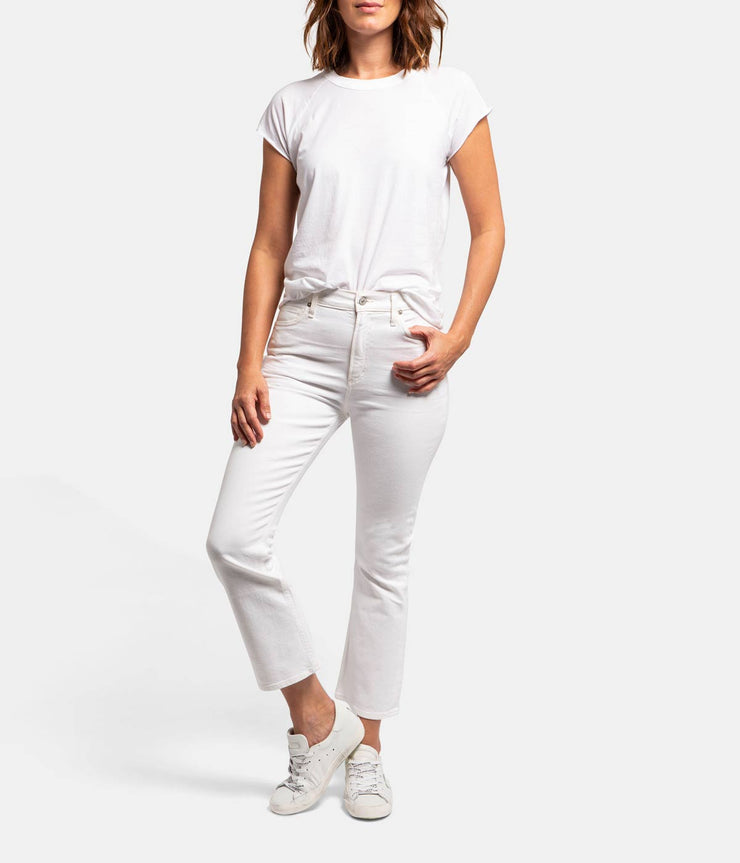 Demy Cropped Flare White Jeans in Unveil