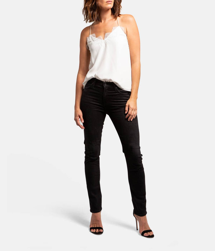 Harlow Slim Straight Black Jeans in Descend