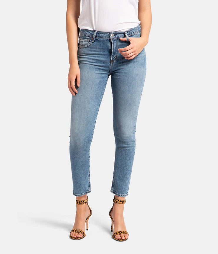 Harlow Ankle Mid Rise Slim Blue Jeans