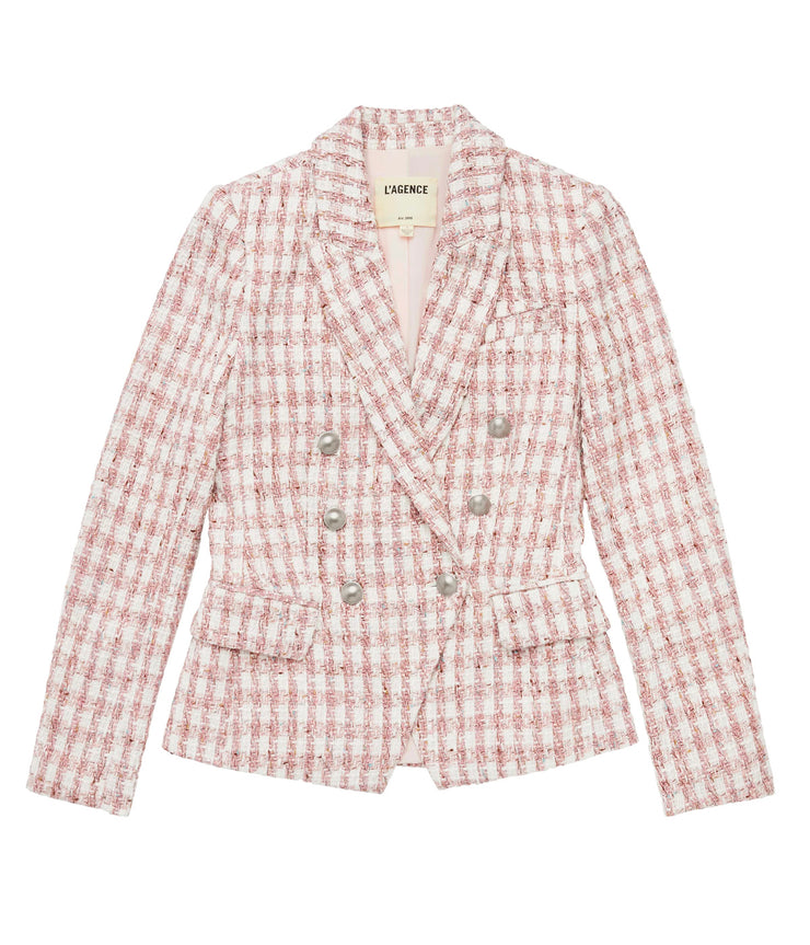 Kenzie Double Breasted Blazer in Pink & Ivory