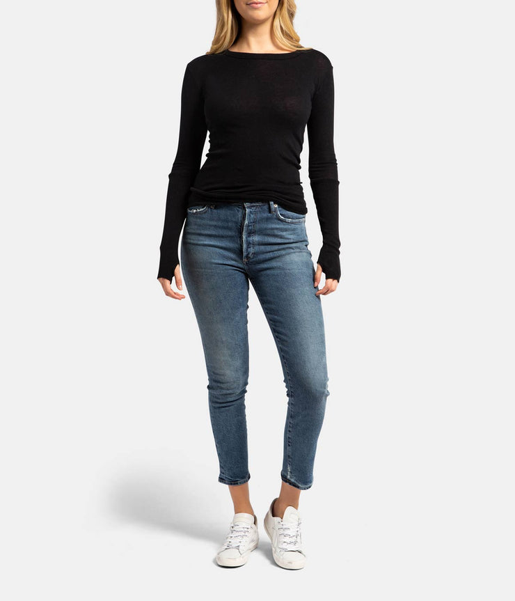 Black Cashmere Crew Fitted Long Sleeve Thumb Top