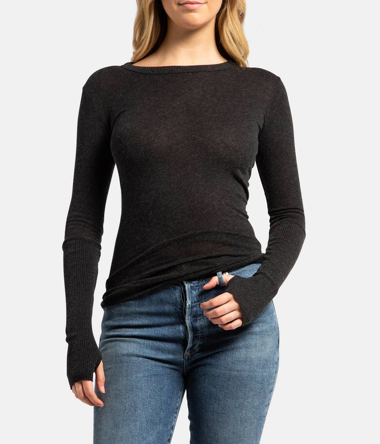 Charcoal Cashmere Fitted Long Sleeve Thumb Top
