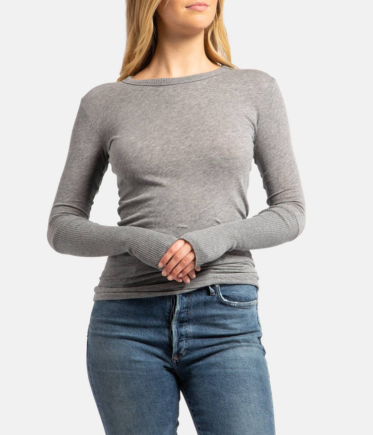 Grey Smoke Cashmere Crew Fitted Long Sleeve Thumb Top
