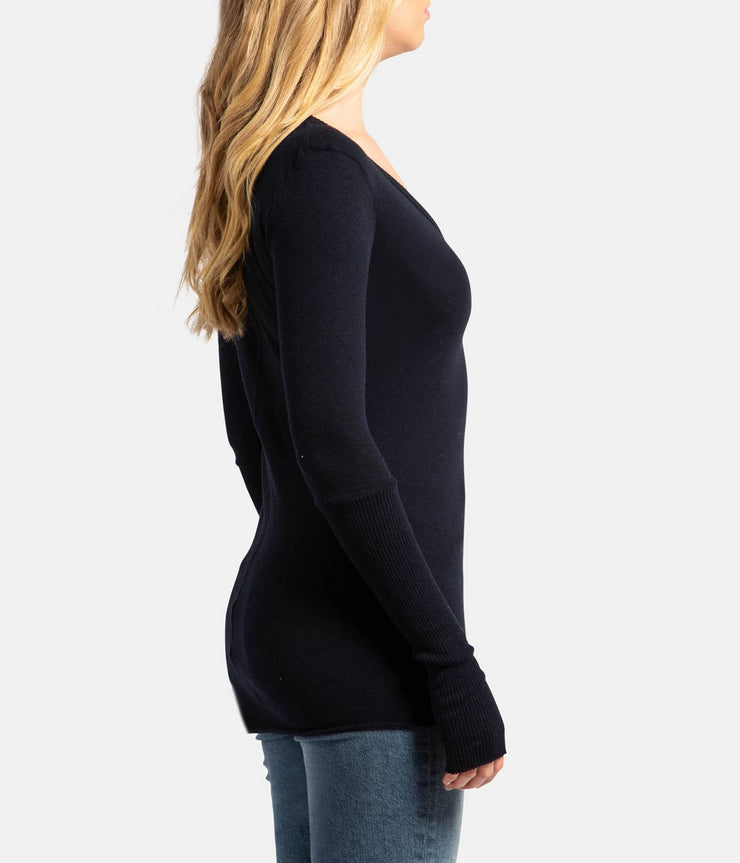 Navy Cadet Cashmere V Neck Fitted Long Sleeve Top