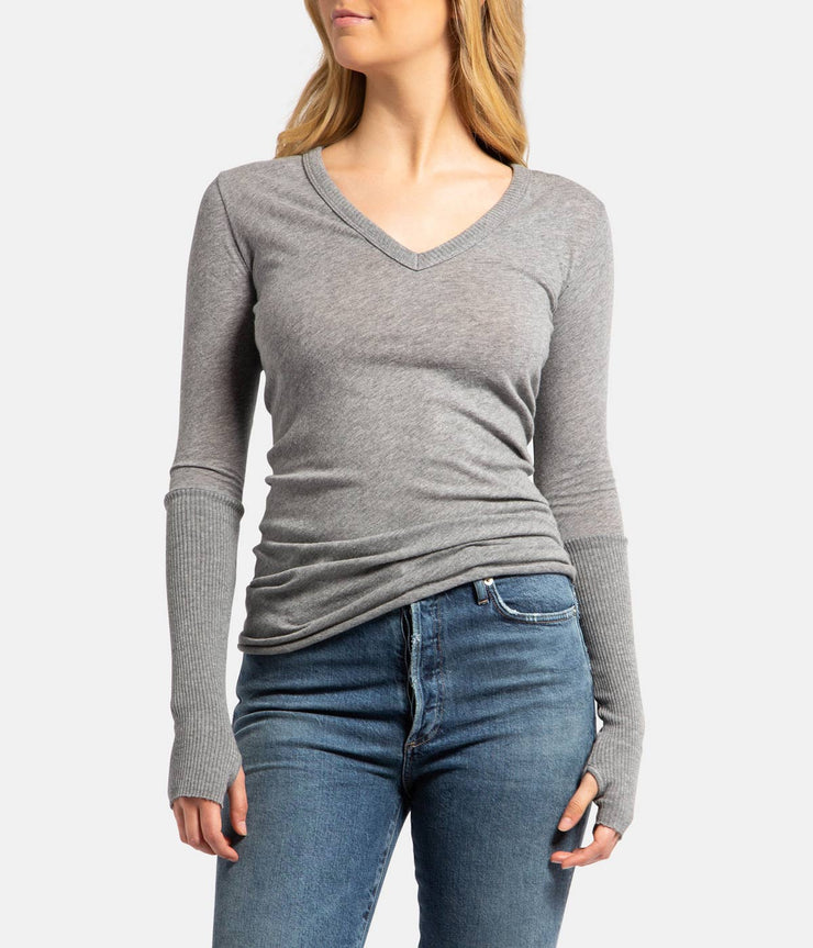 Grey Smoke Cashmere V Neck Fitted Long Sleeve Top