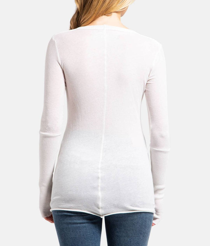 White Cashmere Fitted V Neck Long Sleeve Top