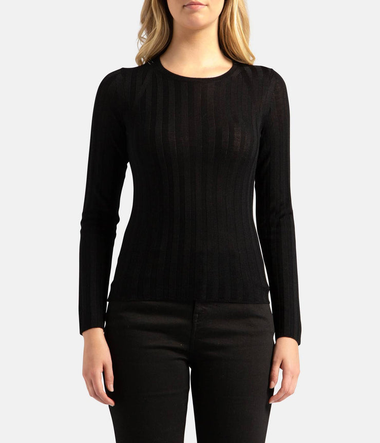 Katie Black Wool Crew Sweater