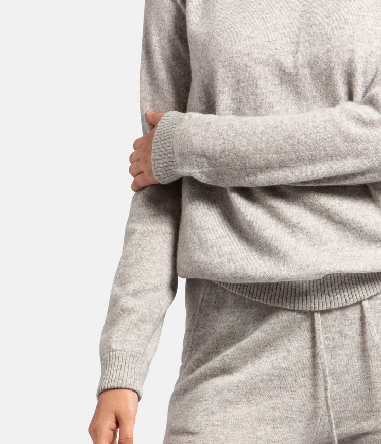 Grey Cashmere Sweat Crew Knit
