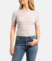 Grey Cashmere Striped Elbow Sleeve Pullover