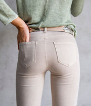 Marguerite High Rise Skinny Jeans in Beige