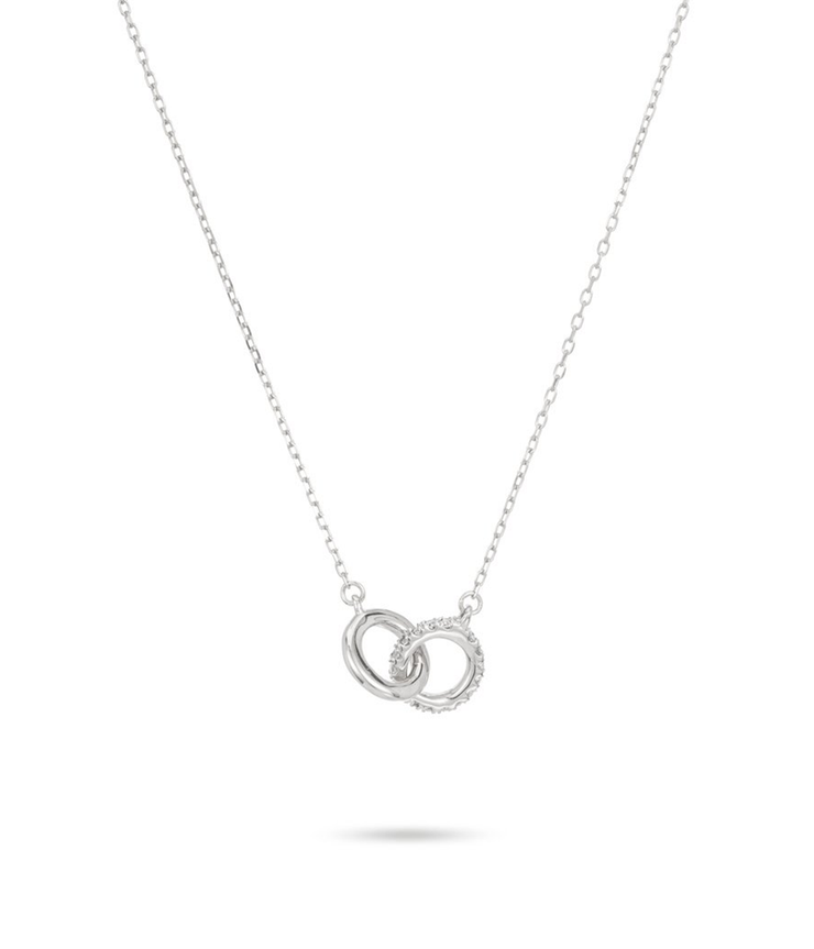 Pave Interlocking Loop Necklace in Strerling Silver