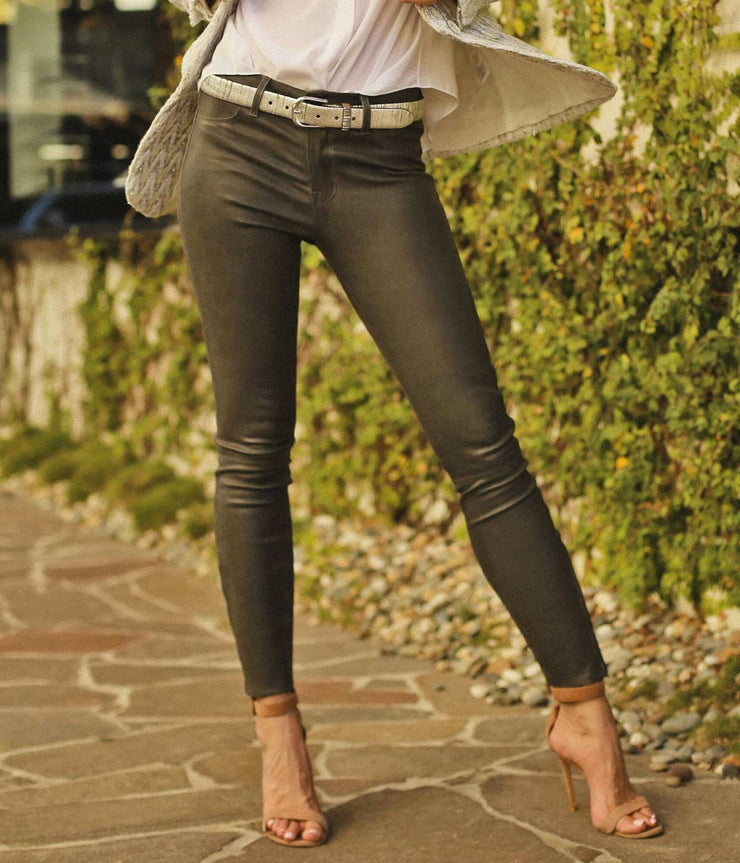 Green Super Skinny Leather Legging Pants