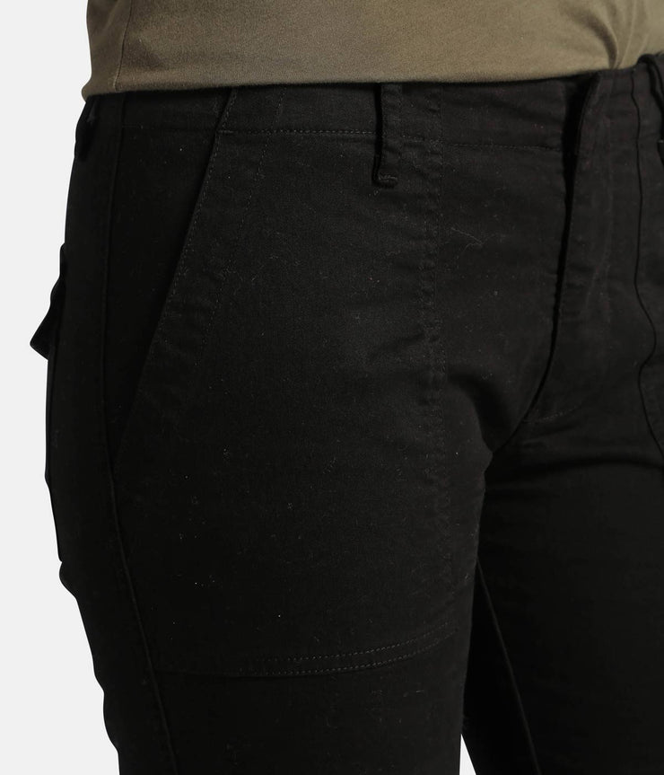 Cropped Military Pants in Jet Black