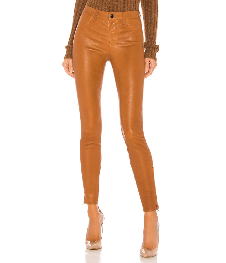 Mid Rise Skinny Leather Pants in Eclaire