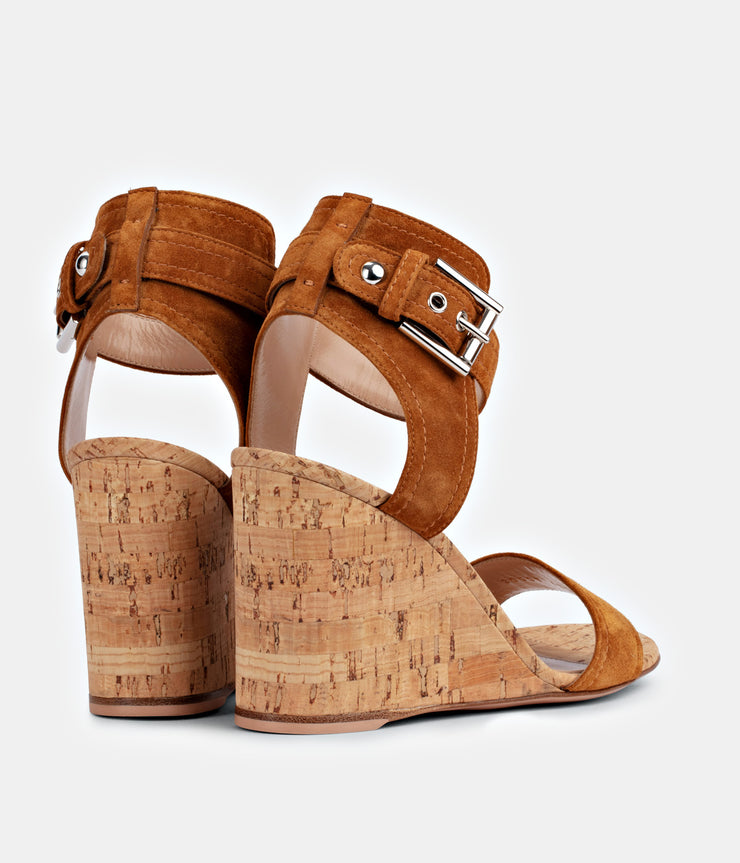 Rikki Mid Wedge Sandal in Suede Almond