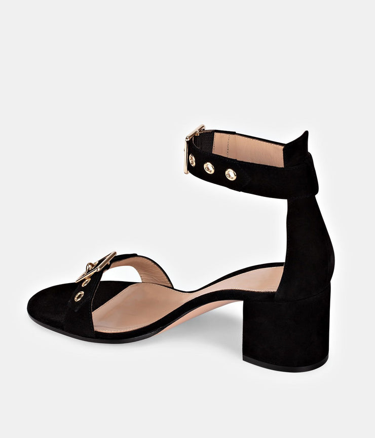 Hayes 60 Black Suede Ankle-Strap Buckle Sandals
