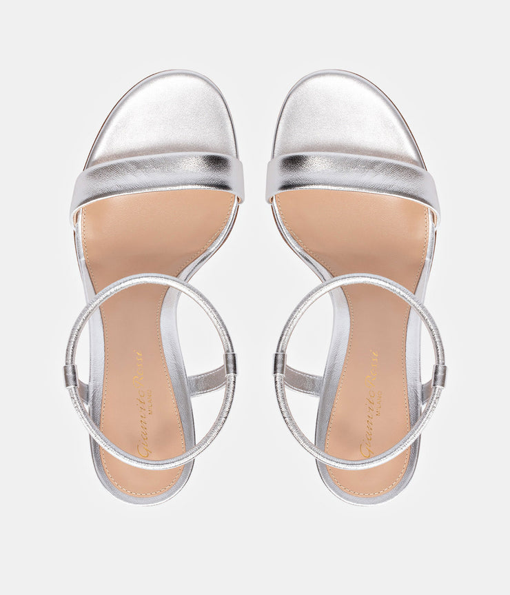 Nikki 60 Silver Leather Sandals