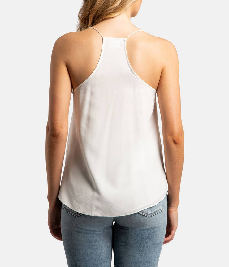 The Racer Silk White Cami