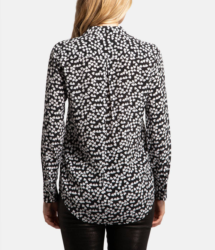 Black White Hearts Silk Essentials Shirt