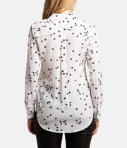 Slim Signature Stars Black & White Silk Blouse