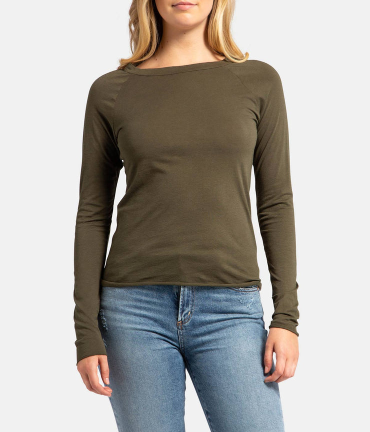Long Sleeve Cotton Baseball Tee - Army Green