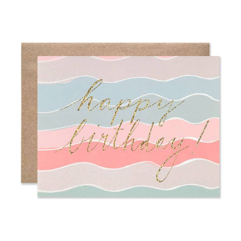 HAPPY BIRTHDAY SQUIGGLES WITH GOLD GLITTER FOIL