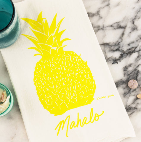 Mahalo Pineapple Tea Towel