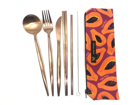 Travel eco pack in purple papaya - reusable cutlery pouch