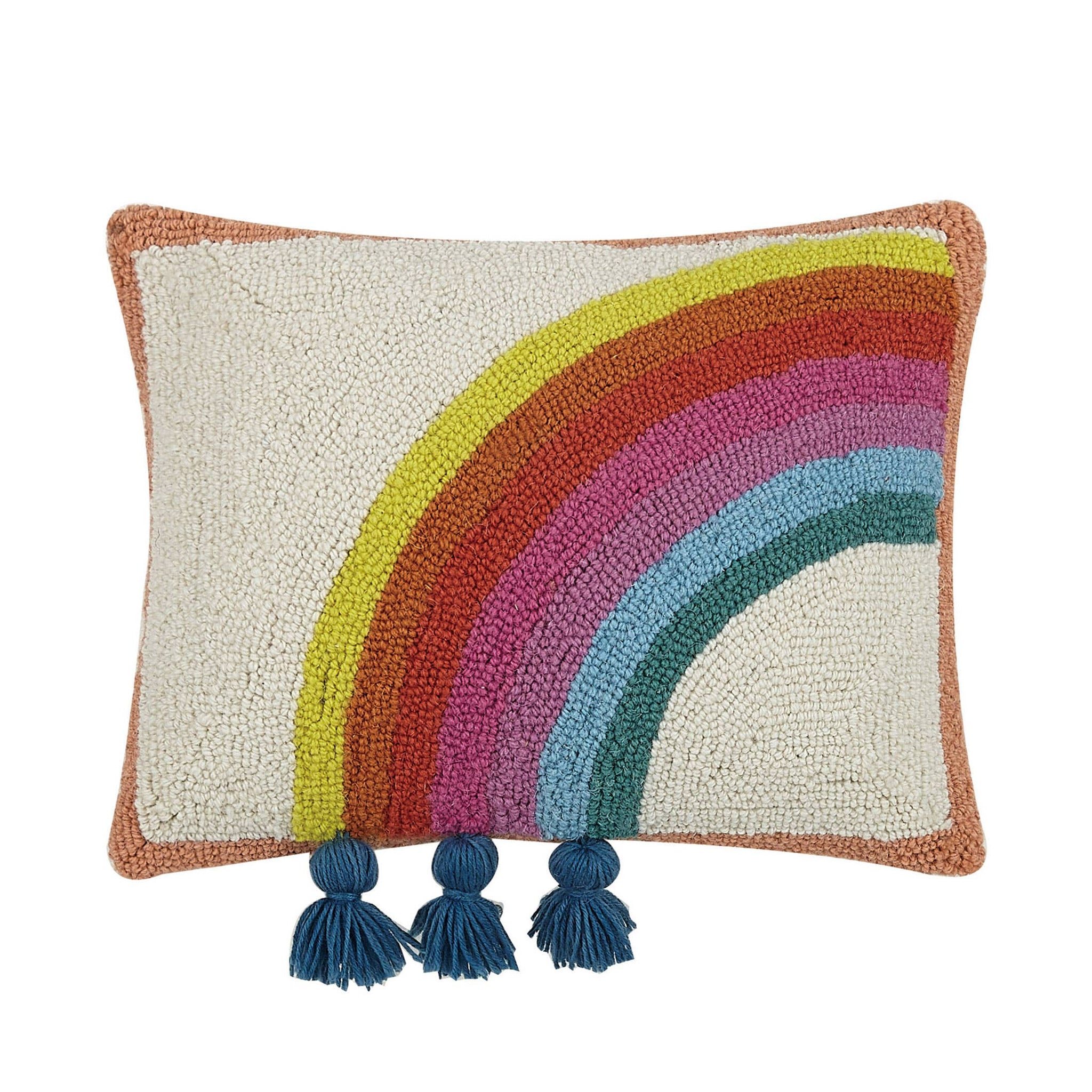 Rainbow Hook Pillow With Tassels Left Side