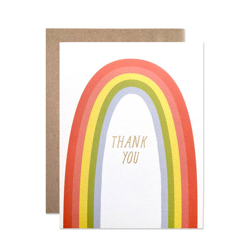 Thank You Rainbow with Gold Foil Set Of 8
