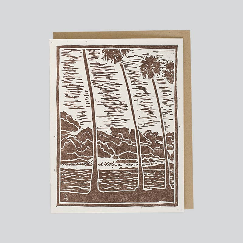 Four Palms In Sunset Card
