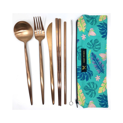 Travel Eco Pack In Lau Print- Reusable Cutlery pouch