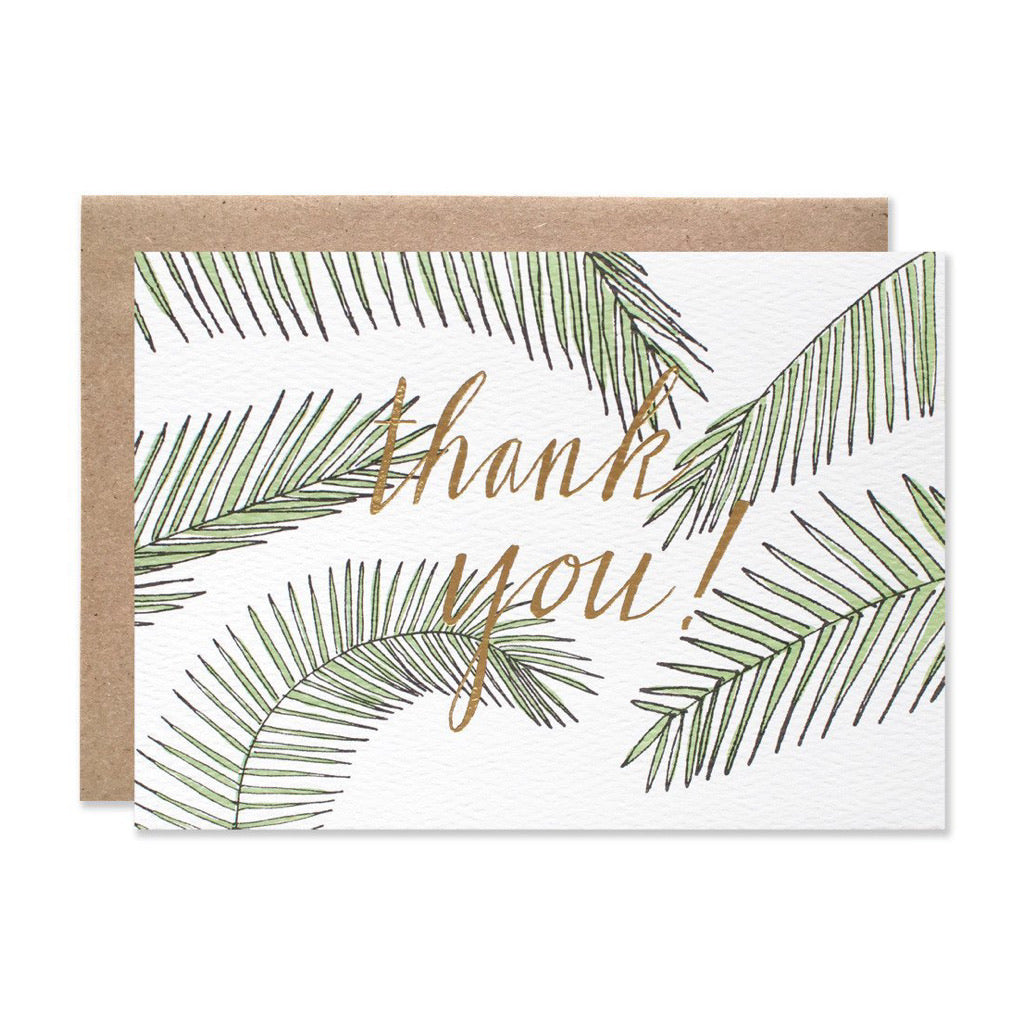 Thank You Palms Gold/Green Foil Set of 8