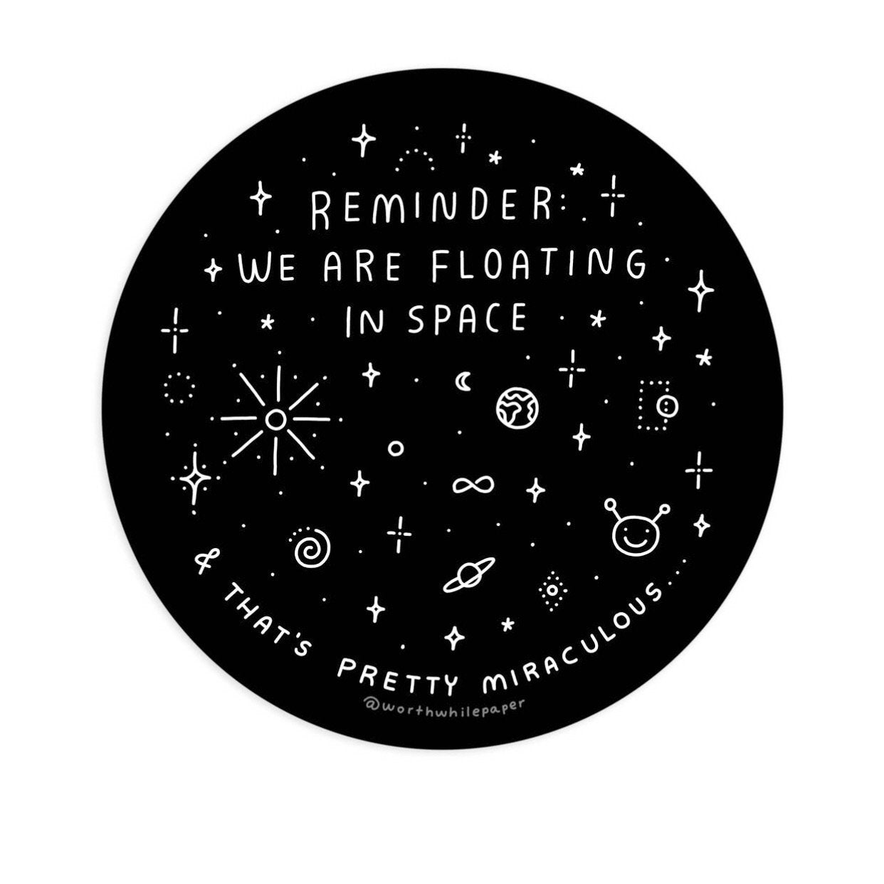 Floating in Space Black Sticker