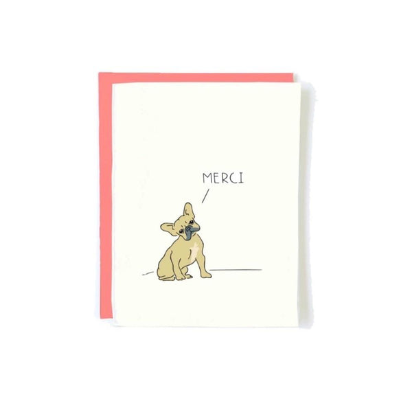 FRENCHIE MERCI THANK YOU CARD