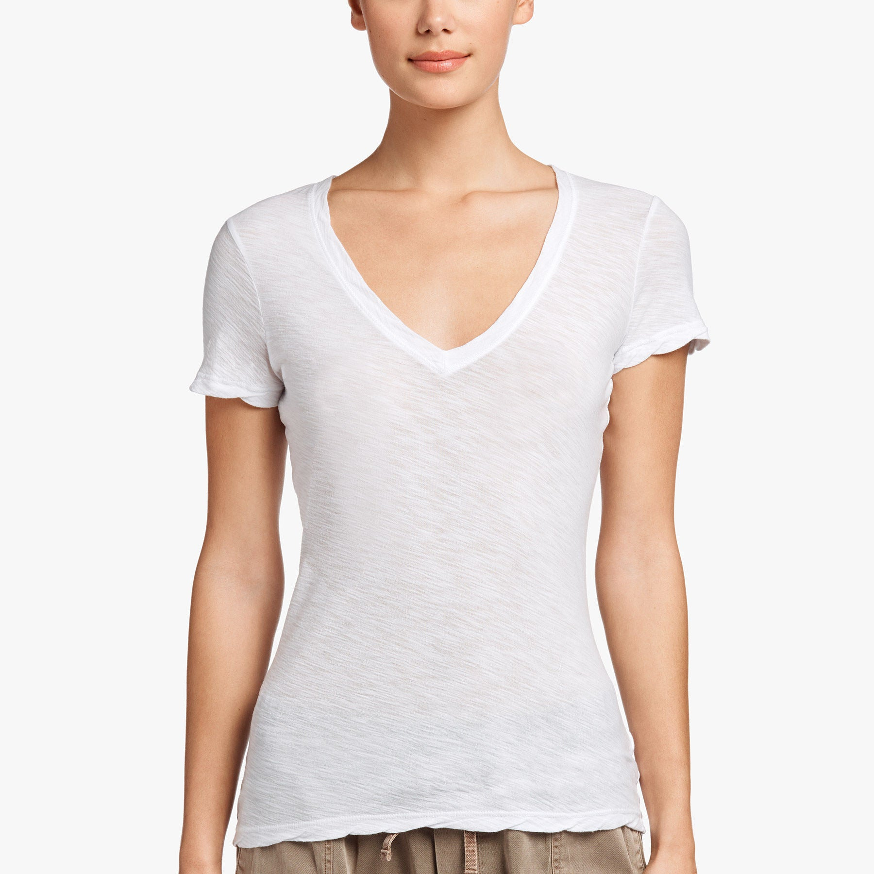 JAMES PERSE CASUAL T W/ REVERSE BINDING - WHITE