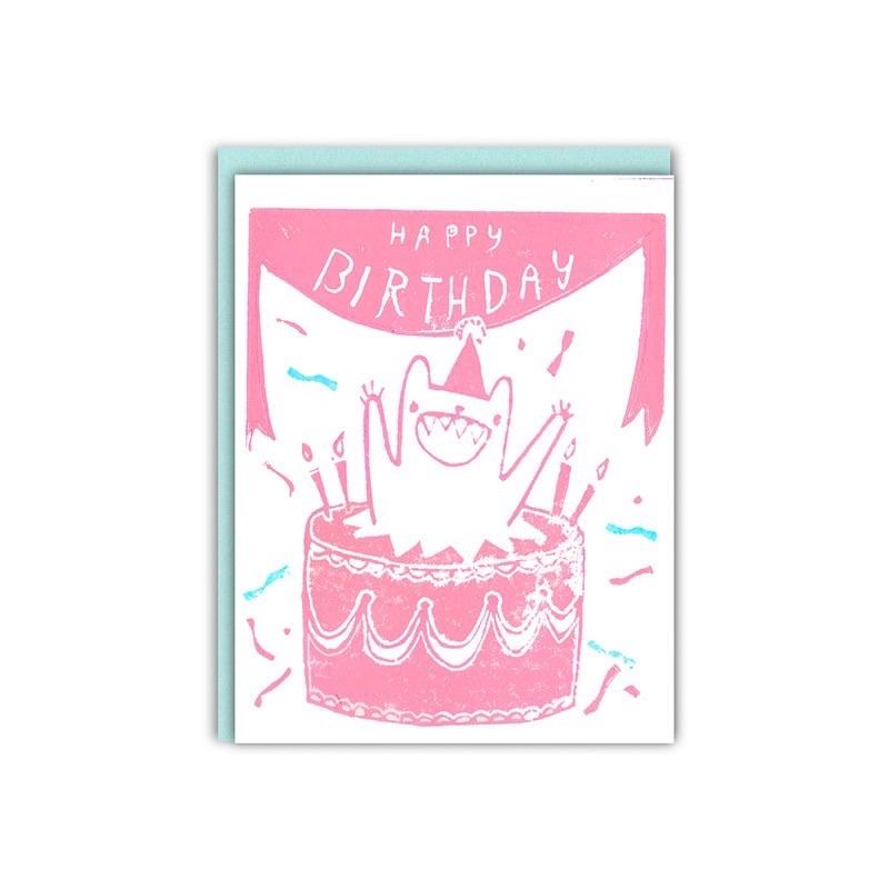 Pink Cake Monster Birthday Card