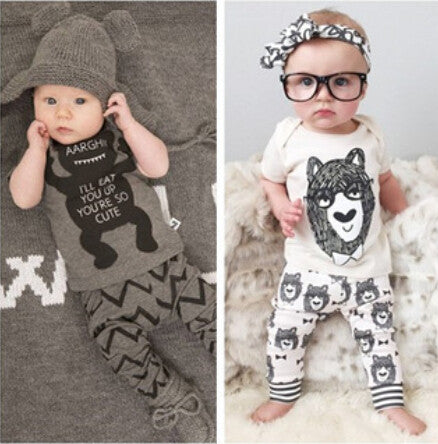 Little Monster Bear Kurzarm 2 Piece Clothing Set