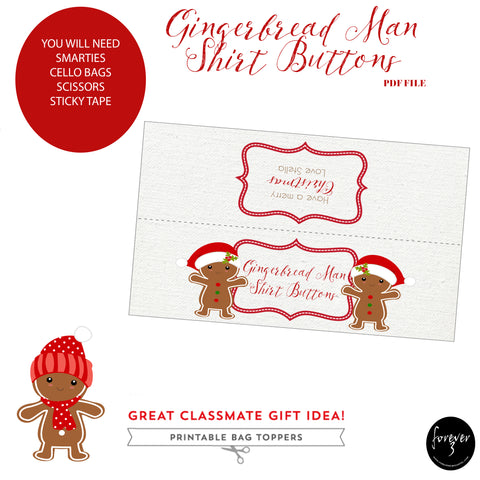 Christmas - bag topper pdf - gingerbread man shirt buttons