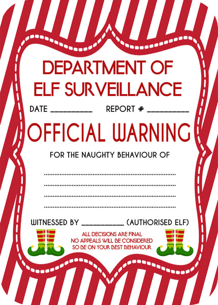 Christmas - Elf on the Shelf - Elf Surveillance Report Card