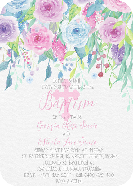 Invite - floral pop cross