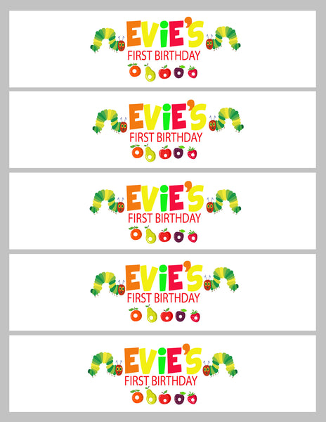 Party - hungry caterpillar drink labels