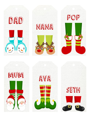 Christmas - gift Tags - feet